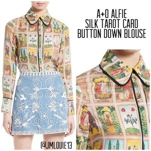 Alice + Olivia Alfie Tarot Card Button Down Blouse